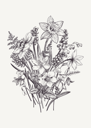 Bunch of early spring flowers. Botanical Illustration engraving style. Vector. Black and white. Illusztráció