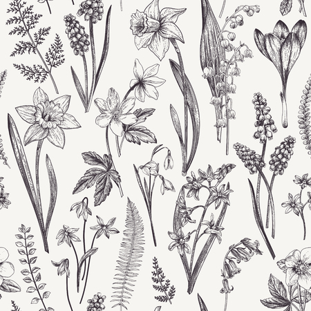 Vintage seamless floral pattern. Spring flowers and  herbs. Botanical vector illustration. Narcissus, lily of the valley, hellebore, snowdrop, crocus. Engraving. Black and white. Vettoriali