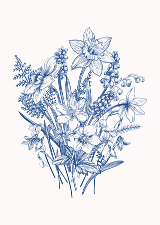 isolated flower: Bouquet of early spring flowers. Botanical Illustration engraving style. Vector. Blue.