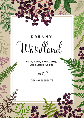 Vintage card with fern leaves and black berries. Wedding invitation. Design elements. Vector. Kraft.
