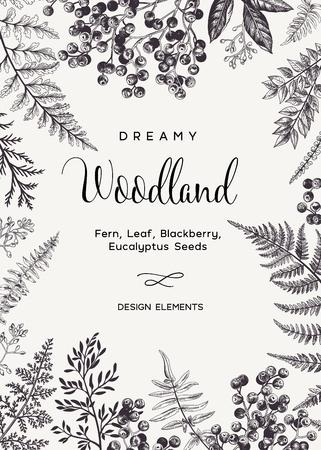 Vintage-Karte mit Farnblättern und schwarzen Beeren. Hochzeitseinladung. Gravur-Stil. Botanische Abbildung. Design-Elemente. Vektor. Schwarz und weiß. Vektorgrafik