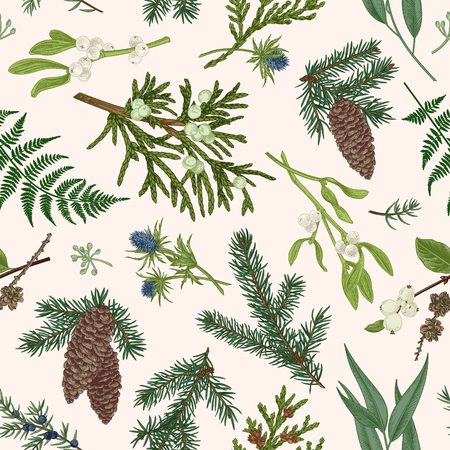 Vintage seamless Christmas pattern. Botanical background with winter plants. Spruce, juniper, fern, snow leopard, mistletoe, eucalyptus. Colorful.