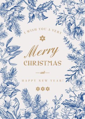 Cornice per le vacanze di Natale. Sfondo invernale. Illustrazione floreale di vettore. Blu.