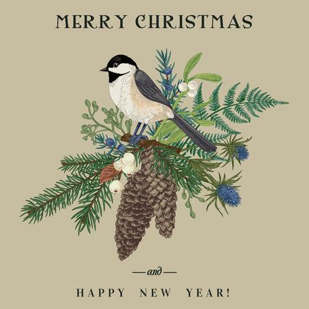 Conifers and birds. Botanical illustration. Vector illustration. Colorful. Kraft.