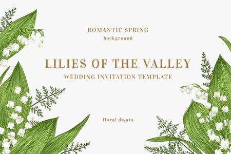 Tarjeta de vector con flores de primavera. Lirios del valle y helechos. Fondo verde.