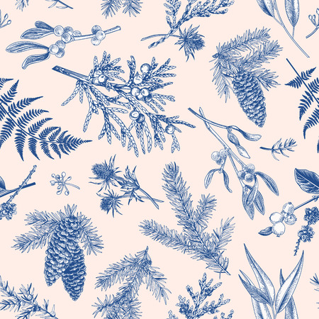 Christmas seamless pattern in engraving style. Vintage. Botanical background with coniferous plants, ferns and berries. Vector illustration. Blue. Illustration