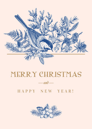 Christmas card with a bird and winter plants. Vector botanical illustration. Blue.