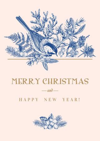 Tarjeta de Navidad con un pájaro y plantas de invierno. Ilustración botánica de vector. Azul. Ilustración de vector