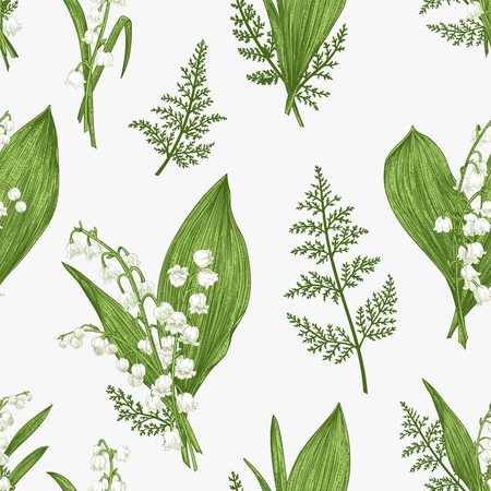 Seamless pattern with lily of the valley flowers