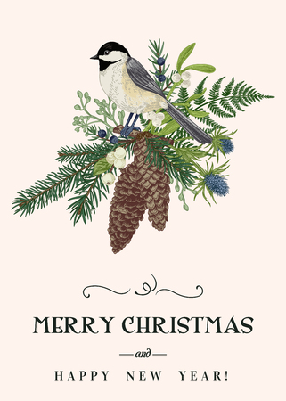 Tarjeta de Navidad con un pájaro, plantas de invierno y bayas. Coníferas, conos de abeto, herrerillo, muérdago, helecho. Estilo vintage. Ilustración botánica.