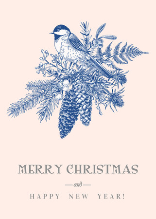 Christmas card with a bird, winter plants and berries. Coniferous, fir cones, tit, mistletoe, fern. Vintage style. Botanical illustration. Blue.