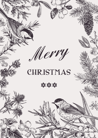 Vector vintage floral card with evergreens and berries.  Christmas winter background. Black and white. Two birds. Engraving. Illustration