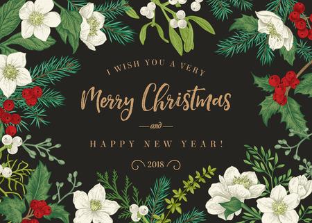 Weihnachtshintergrund im rustikalen Stil. Hochzeitseinladung mit Winterpflanzen und Blumen. Stechpalme, Fichte, Mistel, Nieswurz.