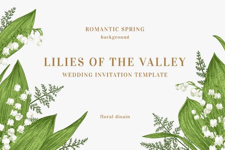 Tarjeta de vector con flores de primavera. Lirios del valle y helechos. Fondo verde. Ilustración de vector