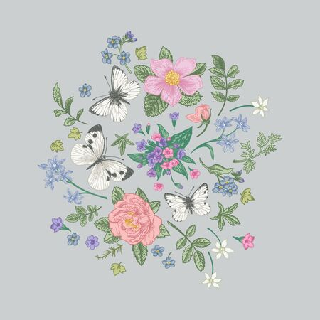 Composition with flowers and butterflies on a gray background. Pastel colors. Vector illustration.