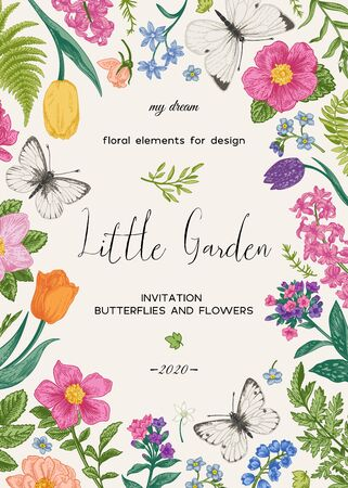 Floral card with flowers and butterflies. Vector botanical illustration. Colorful. Vector Illustratie