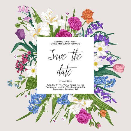 Vector floral vintage illustration. Spring and summer garden flowers. Colorful. Vector Illustratie
