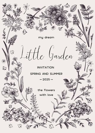 Vector floral invitation card with place for text in the shape of a heart. Little garden. Black and white. Vetores