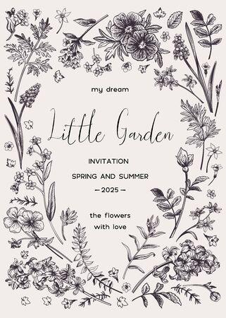 Vektorblumeneinladungskarte mit Platz für Text in Form eines Herzens. Kleiner Garten. Schwarz und weiß. Vektorgrafik
