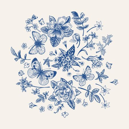 Composition with spring flowers and butterflies in blue.