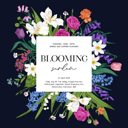 Wedding invitation. Blooming garden. Square frame with spring and summer plants. Bright flowers on a black background. Vector botanical illustration. Colorful.