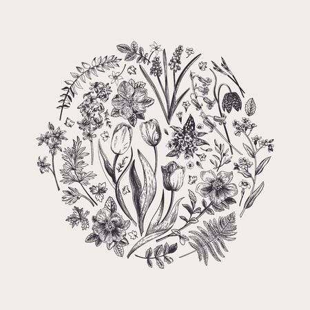 Round floral composition with garden flowers. Botanical illustration. Black and white.