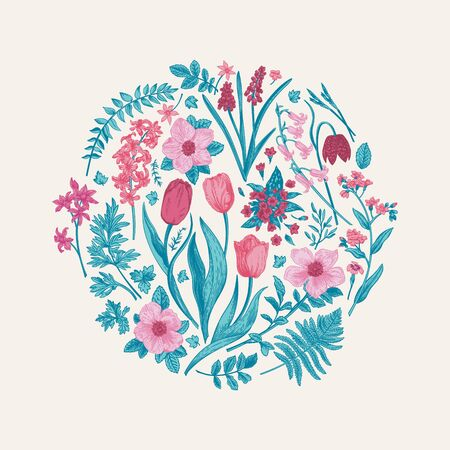 Round floral composition with spring flowers. Botanical illustration. Blue and pink plants.