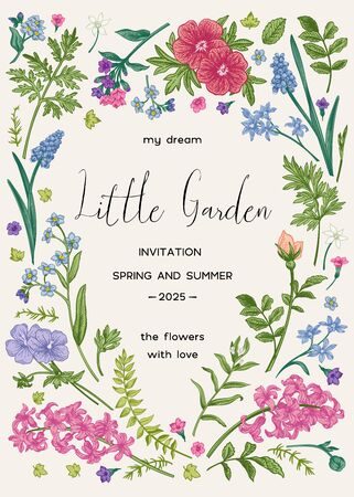 Floral frame with spring and summer garden plants. Little garden. Vector botanical illustration. Vintage style. Invitation card with flowers. Muscari, ferns, wormwood, geranium, hyacinth, rose.