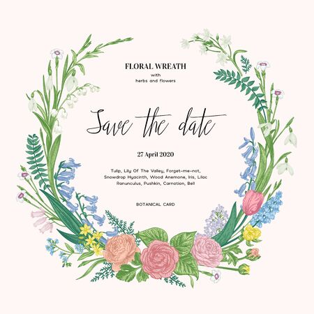 Wreath with garden flowers. Spring romantic wedding invitation. Pastel colors.