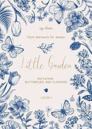 Little garden. Floral card with flowers and butterflies. Vector botanical illustration. Blue. Vektoros illusztráció