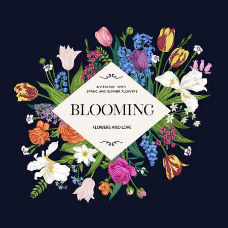 Flower frame. Blooming garden. Vivid flowers on a dark background. Vector botanical illustration. Colorful.