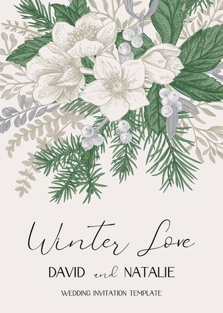 Winter wedding invitation. Christmas background with a bouquet of evergreens, conifers and hellebore flowers. Vintage card in gentle pastel delicate colors. Vector botanical illustration. Vektorgrafik
