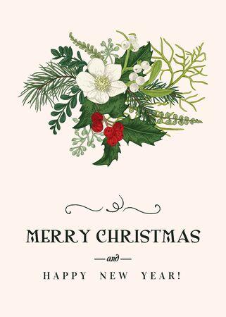 Weihnachtsblumenkarte. Winterstrauß mit Nieswurzblume, Koniferen, weißen und roten Beeren. Botanische Vektorgrafik. Vintage-Hintergrund. Bunt. Vektorgrafik