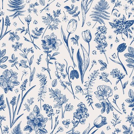 Vector botanical illustration. Seamless pattern with meadow and garden flowers. Blue.