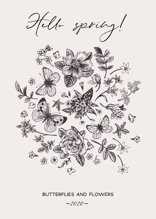 Floral card with spring flowers and butterflies. Vector botanical illustration. Black and white.
