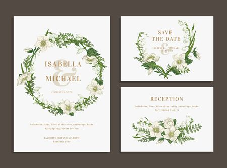 Set of wedding cards with a green wreath and a bouquet. Invitation, save the date, reception.