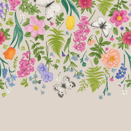 Seamless floral border with flowers, leaves and white butterflies. Little garden. Rosehip, fern, meadow geranium, forget-me-not, hyacinth. Colorful.