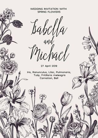 Invitation de mariage avec des fleurs de printemps et d'été. Noir et blanc.