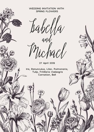 Wedding invitation with spring and summer flowers. Black and white.