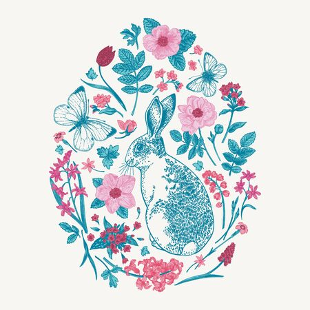 Herbal composition with rabbit and butterflies. Easter egg decorated with flowers and leaves in blue and pink.