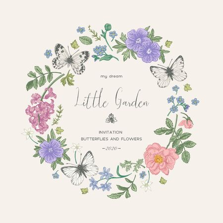 Wedding invitation with flowers and butterflies. Little garden. Floral wreath. Romantic vintage colors.