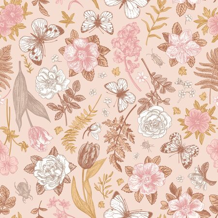 Pink blooming seamless pattern with flowers and butterflies. Vector vintage illustration. Vectores