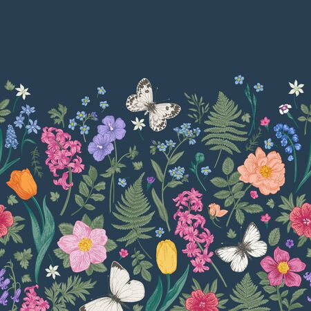 Seamless border with spring and summer flowers and butterflies whites. Floral pattern on a dark background. Colorful.