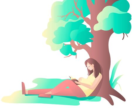 Pregnant girl reading a book near a tree. Summer leisure.Healthy lifestyle. Vector illustration in cartoon style.