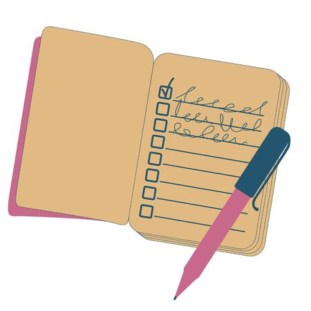 Pen and open notebook for notes. A to-do list has been compiled. Vector illustration.
