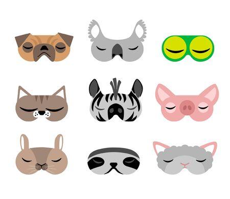 Children sleep mask cute on white background. Portrait animal sloth, frog, cat, dog, pug, hamster, koala, pig, zebra, sheep. Fun concept. Vector cartoon design. Relaxation rest. Cute vector illustration. Happy childhood lifestyle.