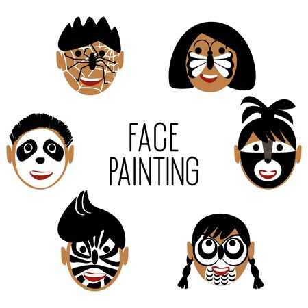 Faces of children in black and white face painting. On the faces are painted animals a panda, a butterfly, a spider with a cobweb, raccoon, owl, zebra. Beautiful illustration for lifestyle design. Vector illustration.