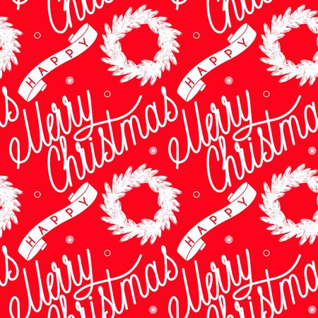 Ribbon with inscription merry christmas wreath. Seamless festive pattern.  