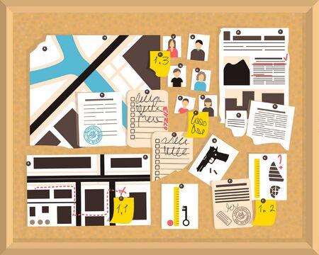 Detective board. Crime investigation concept. Vector newspaper. Investigation, evidence board. Office board. Flat vector illustration. Vettoriali