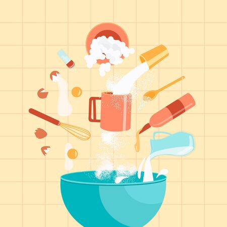 Ingredients for baking cookies. Cookies Cooking Concept. Ingredients hover over a bowl in which the dough will be kneaded. Vector illustration.